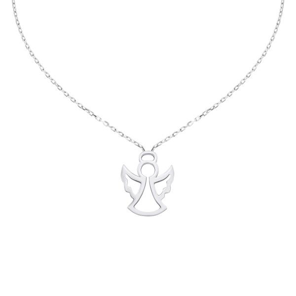 585er Weißgold Halsketten Engel Anhänger Kette Collier Ankerkette 14K inkl. Etui