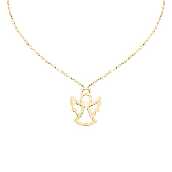 585er Gelbgold Halsketten Engel Anhänger Kette Collier Schutz Engel 14K inkl. Etui