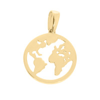 Damen Anhänger Weltkugel 585er Gelbgold Globus Erde Weltkarte Ankerkette