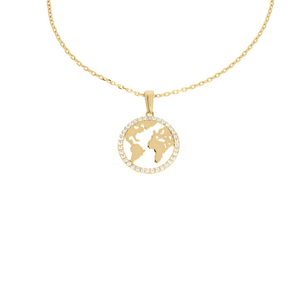Damen Anhänger Weltkugel 585er Gelbgold Ankerkette Erde Weltkarte Globus