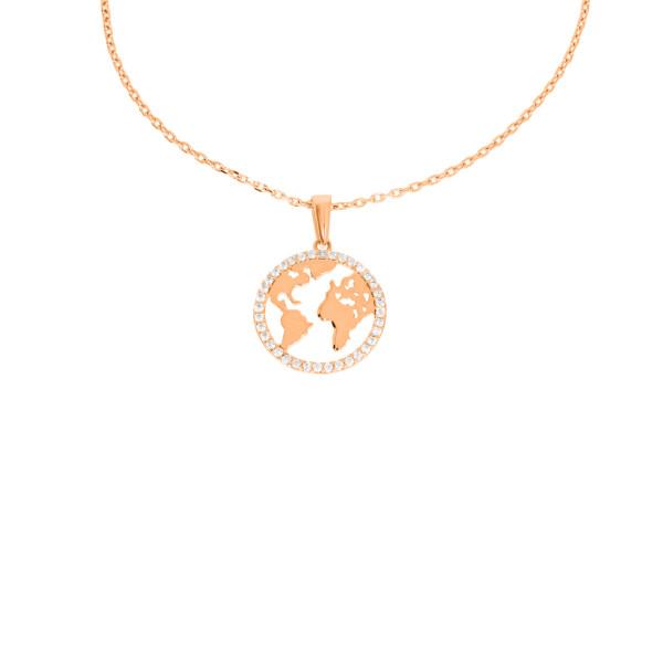 Damen Anhänger Weltkugel 585er Rotgold Ankerkette Erde Weltkarte Globus Kette