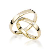 Paar 585 Gold Klassische Trauringe mit Zirkona Gold Hochzeitsringe Eheringe 14K