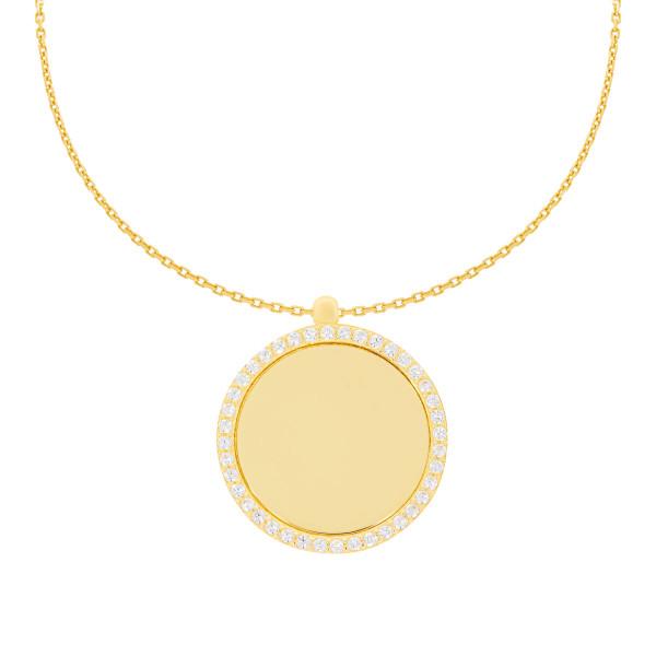 585er Collierkette mit Gravurplatte Rund Platte Gold Kette mit Zirkonia -Ø26