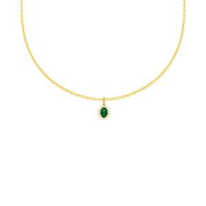585er Gelbgold Anhänger mit synth. Smaragd und Zirkonia