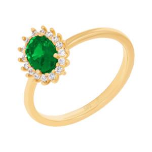 585er Gelbgold Damenring synth. Smaragd und Zirkonia