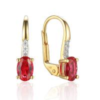 585er Gelbgold Ohrhänger mit synth. Rubin und Zirkonia