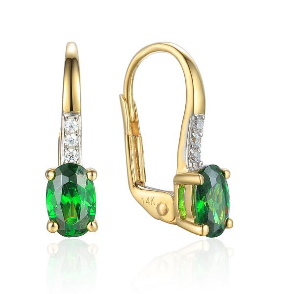 585er Gelbgold Ohrhänger mit synth. Smaragd und Zirkonia