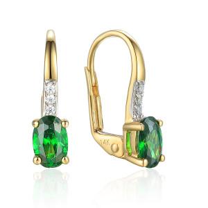585er Gelbgold Ohrhänger mit synth. Smaragd und...