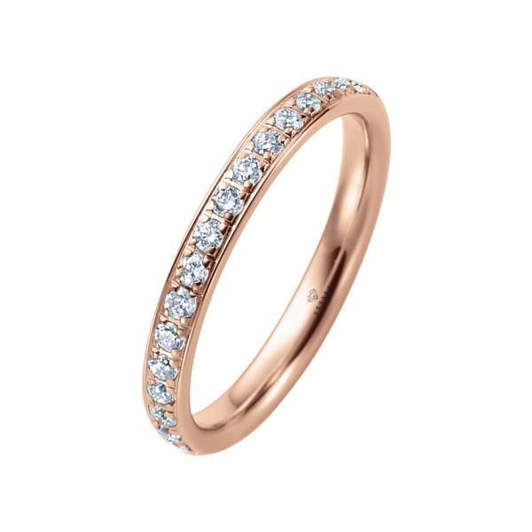 585er Rotgold Memory Ring 16 x Diamanten zus. ca. 0,35 ct. im Verschnitt