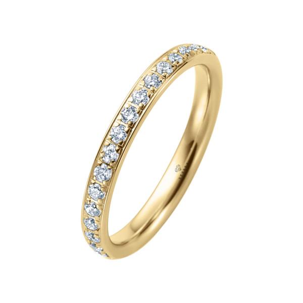 585er Gelbgold Memory Ring 20 x Diamanten zus. ca. 0,25 ct. im Verschnitt