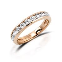 585er Rotgold Memory Ring 20 x Diamanten zus. ca. 0,25 ct. Kanalfassung