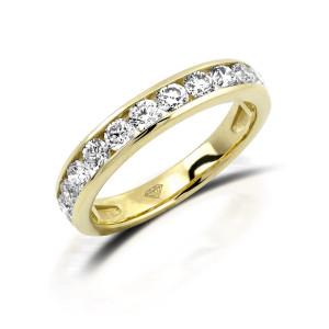 750er Gelbgold Memory Ring 12 x Diamanten zus. ca. 0,58 ct. Kanalfassung