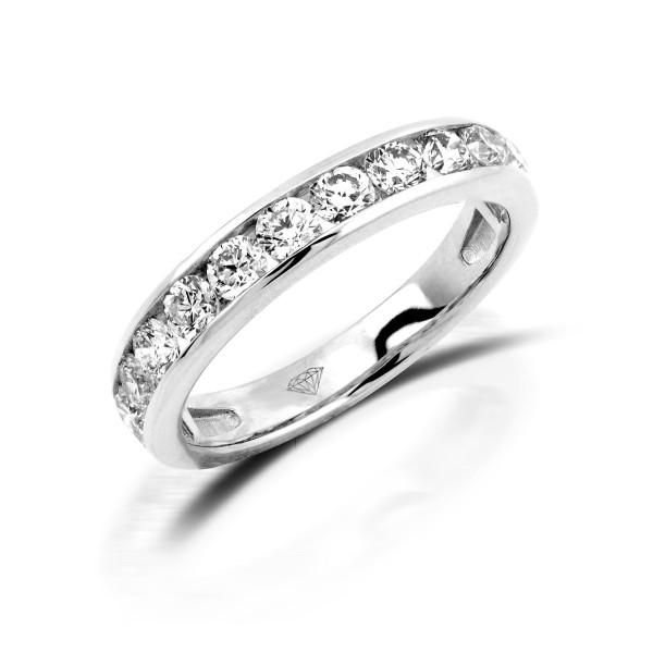 750er Weißgold Memory Ring 11 x Diamanten zus. ca. 0,98 ct. Kanalfassung