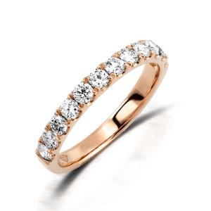 750er Rotgold Memory Ring 11 x Diamanten zus. ca. 0,42 ct. Krappenfassung