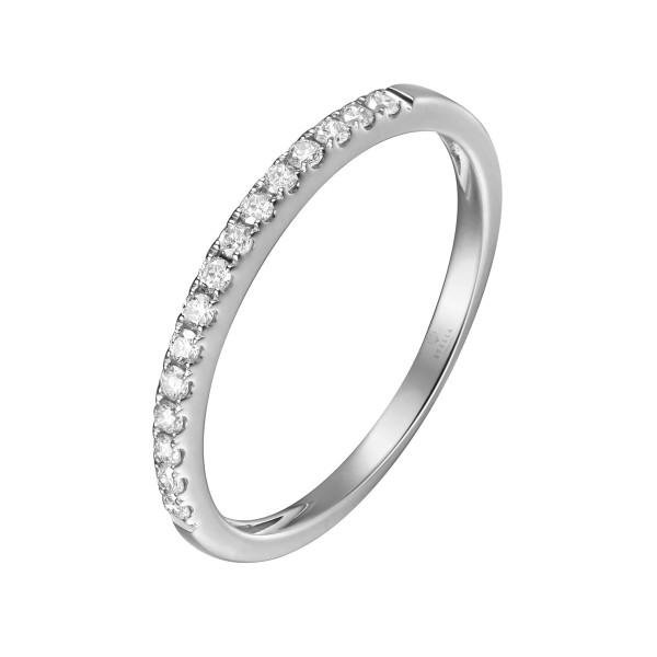 750er Weißgold Memory Ring 16 x Diamanten zus. ca. 0,27 ct. Krappenfassung