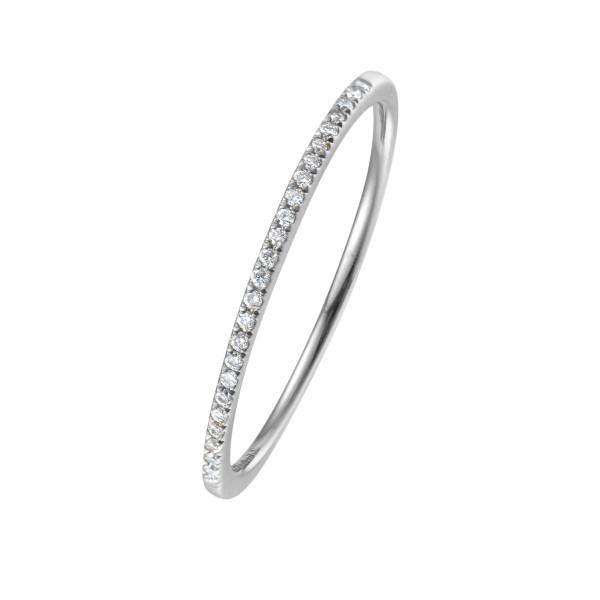 750er Weißgold Memory Ring 19 x Diamanten zus. ca. 0,20 ct. Krappenfassung
