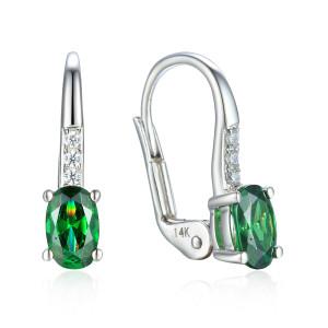 585er Weissgold Ohrhänger mit synth. Smaragd und...