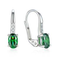 585er Weissgold Ohrhänger mit synth. Smaragd und Zirkonia