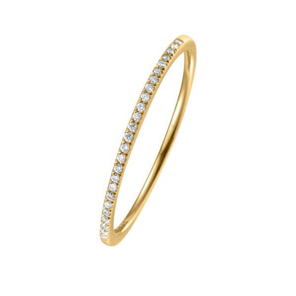 750er Gelbgold Memory Ring 34 x Diamanten zus. ca. 0,08 ct. Krappenfassung