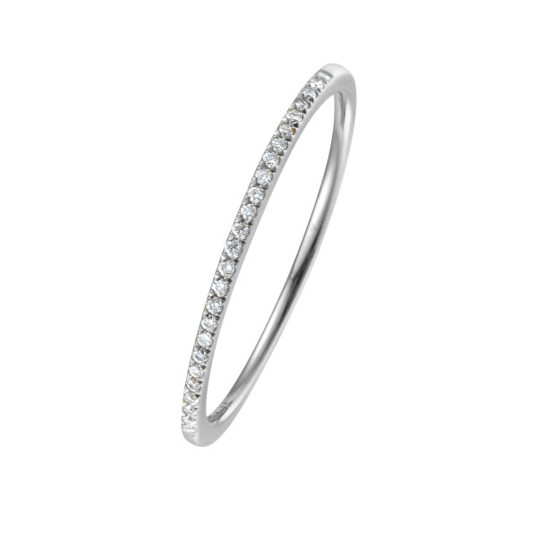 750er Weißgold Memory Ring 34 x Diamanten zus. ca. 0,08 ct. Krappenfassung