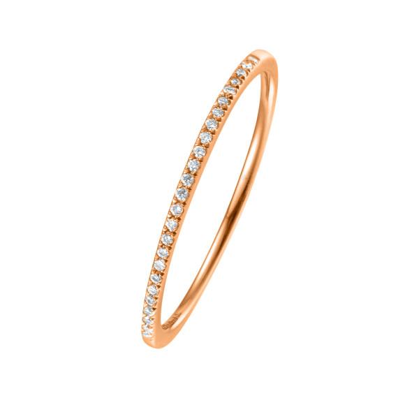 750er Rotgold Memory Ring 34 x Diamanten zus. ca. 0,08 ct. Krappenfassung