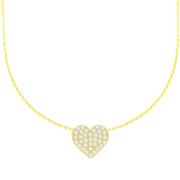 585er Gold Collierkette Herz Anhänger mit Zirkonia