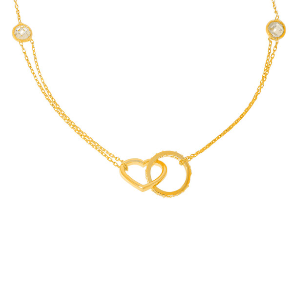 585er Gold Collierkette mit Kreis und Herz Anhänger Zirkonia
