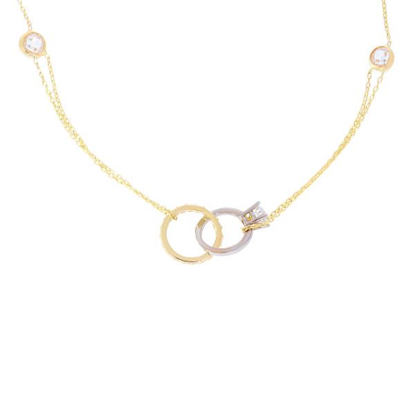 585er Gold Collierkette mit Kreis und Ring Anhänger Zirkonia