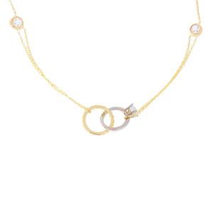 585er Gold Collierkette mit Kreis und Ring Anhänger...