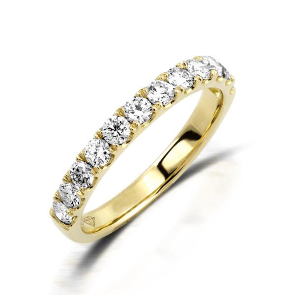 750er Gelbgold Memory Ring 11 x Diamanten zus. ca. 0,90 ct. Krappenfassung Gr. 52
