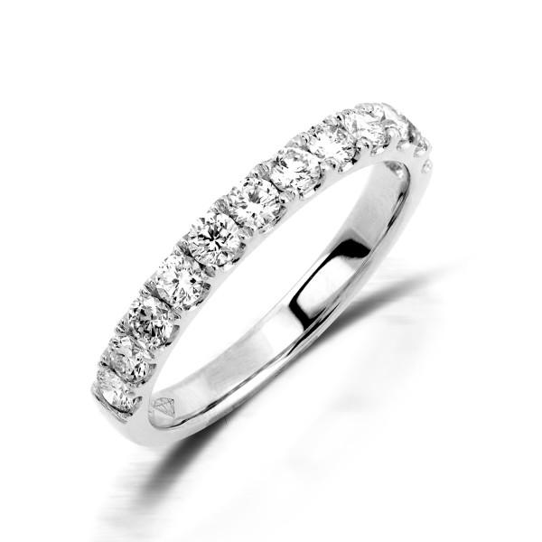 750er Weißgold Memory Ring 11 x Diamanten zus. 0,91 ct. Krappenfassung Gr. 54
