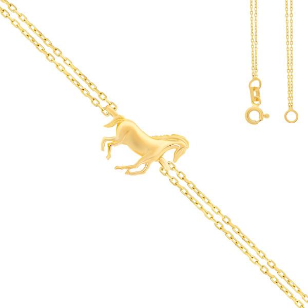 585er Gelbgold Armband Pferd Anhänger