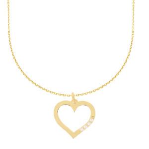 585er Gold Collierkette mit Herz Anhänger Zirkonia