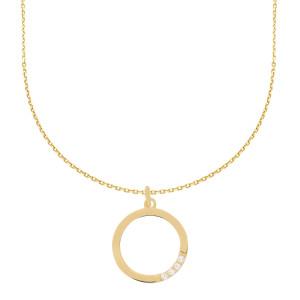 585er Gold Collierkette mit Kreisanhänger Zirkonia
