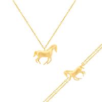 585er Gelbgold Set mit Collier und Armband Pferd