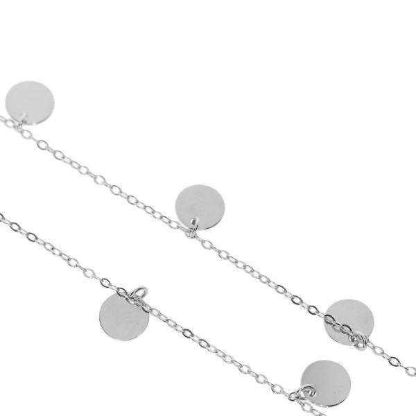 585er Weißgold Halskette mit 7 Plättchen 45 cm