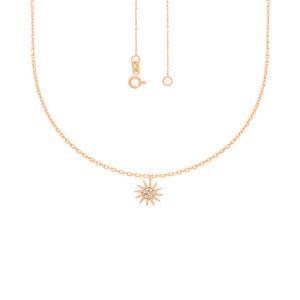 585er Rotgold Collierkette mit Sonne Anhänger Zirkonia