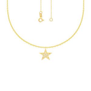 585er Gelbgold Collierkette mit Sternanhänger Zirkonia