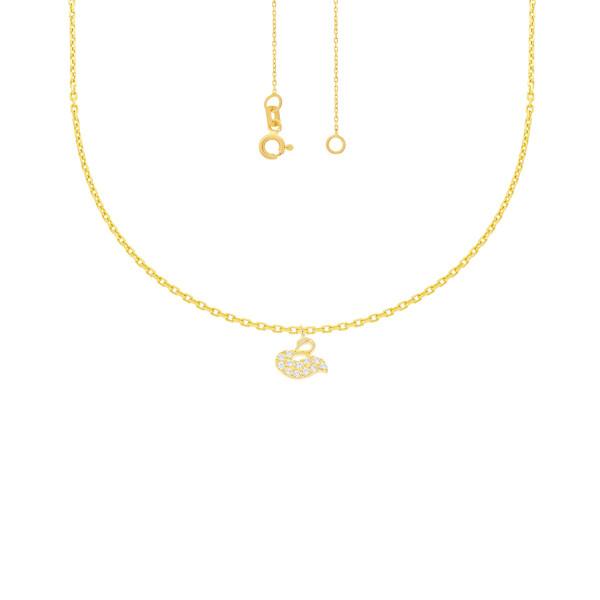 585er Gelbgold Collierkette mit Schwan Anhänger Zirkonia