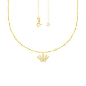 585er Gelbgold Collierkette mit Krone Anhänger Zirkonia