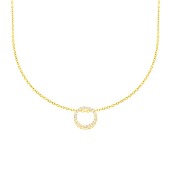 585er Gelbgold Collierkette mit Kreis Anhänger Zirkonia