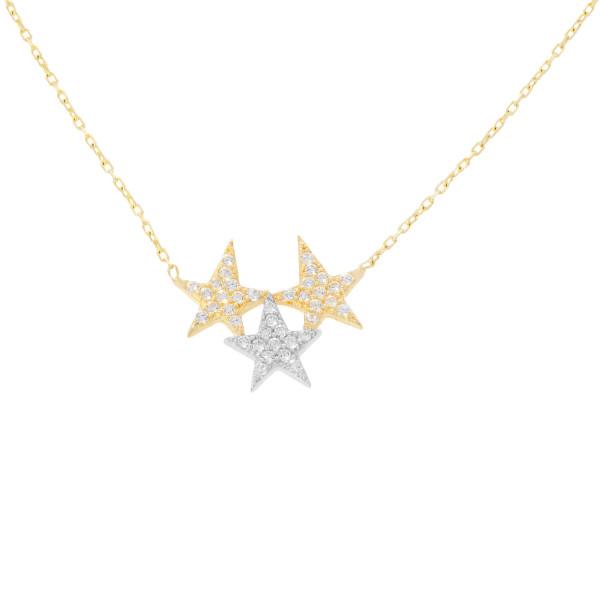 585er Gelbgold Collierkette mit 3 Sterne Anhänger Zirkonia