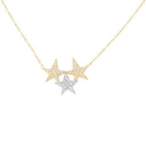 585er Gelbgold Collierkette mit 3 Sterne Anhänger...
