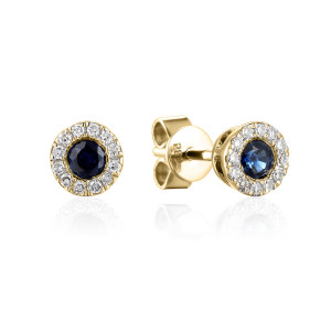 585er Gelbgold Ohrstecker Saphir 0,36ct./ 24 x Diamanten...
