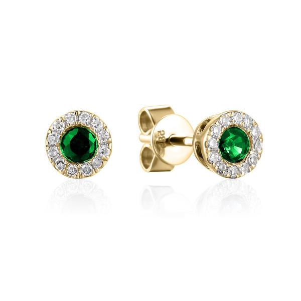 585er Gelbgold Ohrstecker Smaragd 0,23ct./ 24 x Diamanten zus. 0,08ct.
