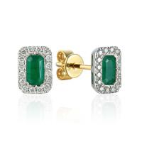 585er Gelbgold Ohrstecker Smaragd 0,54ct./ Diamanten zus. 0,15ct.