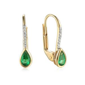585er Gelbgold Ohrringe Smaragd 0,38ct. und 14 x...