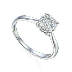 585er Weissgold Verlobungsring Solitärring Diamant...