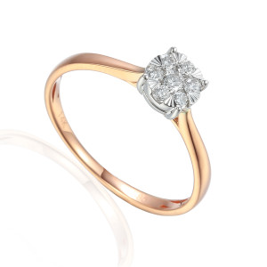 585er Rotgold Verlobungsring Solitärring Diamant...