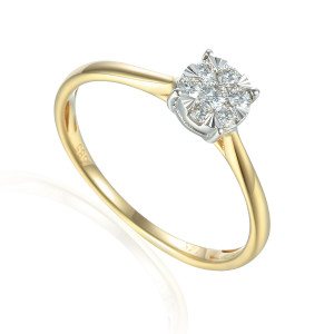 585er Gelbgold Verlobungsring Solitärring Diamant...